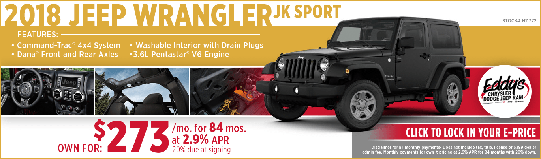 Save on a new 2018 Jeep Wrangler JK Sport model at Eddy's CDJR in Wichita, KS