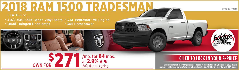 Save on a new 2018 Ram 1500 Tradesman model at Eddy's CDJR in Wichita, KS