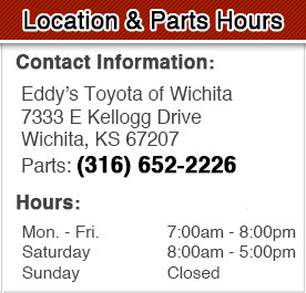 Eddy's Toyota Parts Department Hours, Location, Contact Information