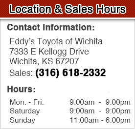 Eddy's Toyota Sales Department Hours, Location, Contact Information