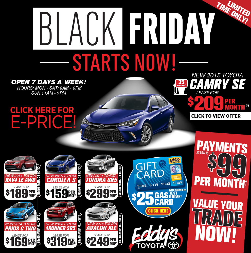eddy 39 s toyota early black friday sales event wichita ks. Black Bedroom Furniture Sets. Home Design Ideas