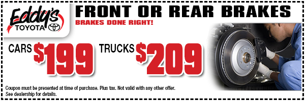 Save on front or rear brakes for your Toyota from Eddy's Toyota in Wichita, KS with this special offer.