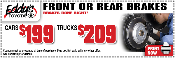 Save on front or rear brakes for your Toyota from Eddy's Toyota in Wichita, KS with this special offer. Click to print and save!