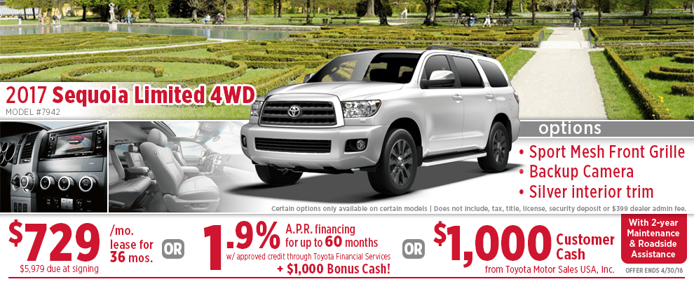 2017 Toyota Sequoia Limited 4WD Finance or Lease Special in Wichita, KS