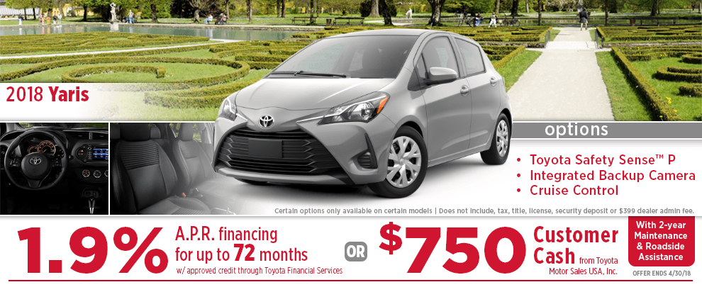 2018 Yaris Low APR Finance Special at Eddy's Toyota of Wichita