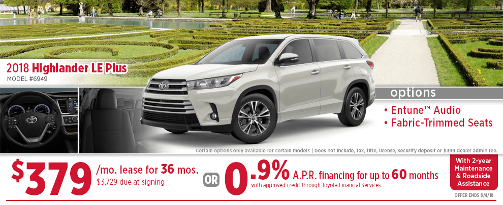 Lease Or Finance A 2018 Toyota Highlander LE For A Special Price In Wichita,  KS