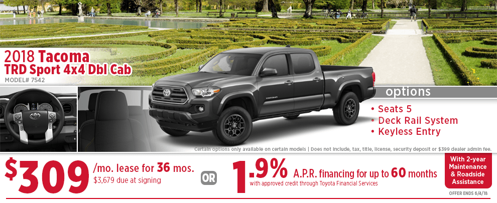 Truck Lease Deals >> New 2018 Toyota Tacoma Specials Wichita Truck Purchase