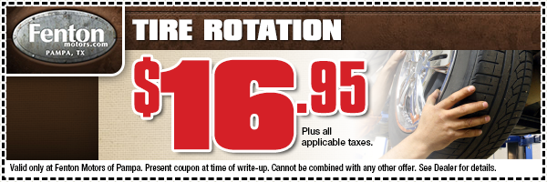 Ford & Dodge Tire Rotation Service Special Coupon serving Pampa, Texas