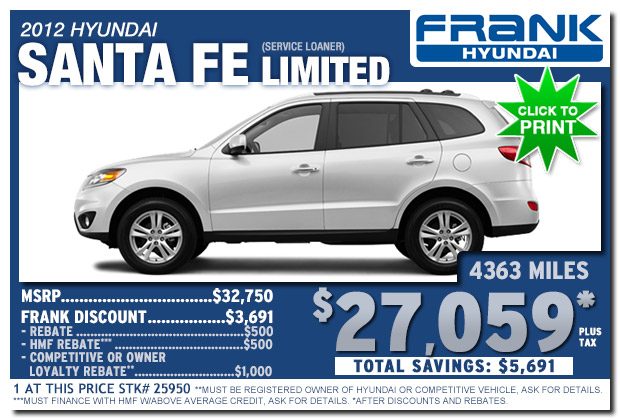 Frank Hyundai 2012 Santa Fe Limited Service Loaner Sale Special In National  City, San Diego ...