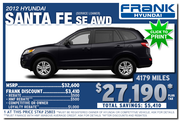 ... Frank Hyundai 2012 Santa Fe SE Service Loaner Sale Special In National  City, San Diego ...