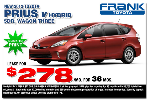 2012 toyota prius specials san diego county ca new car for Frank motors national city