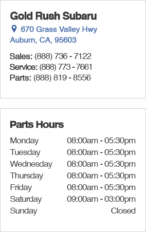 Gold Rush Subaru Parts Department Hours, Location, Contact Information