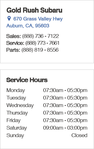 Gold Rush Subaru Service Department Hours, Location, Contact Information