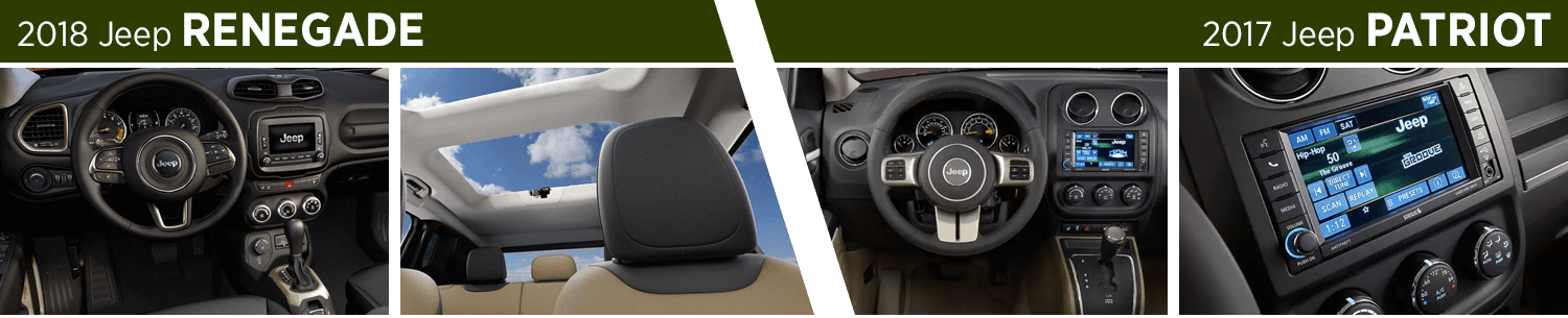 Compare the 2018 Jeep Renegade vs 2017 Jeep Patriot Interior Styling