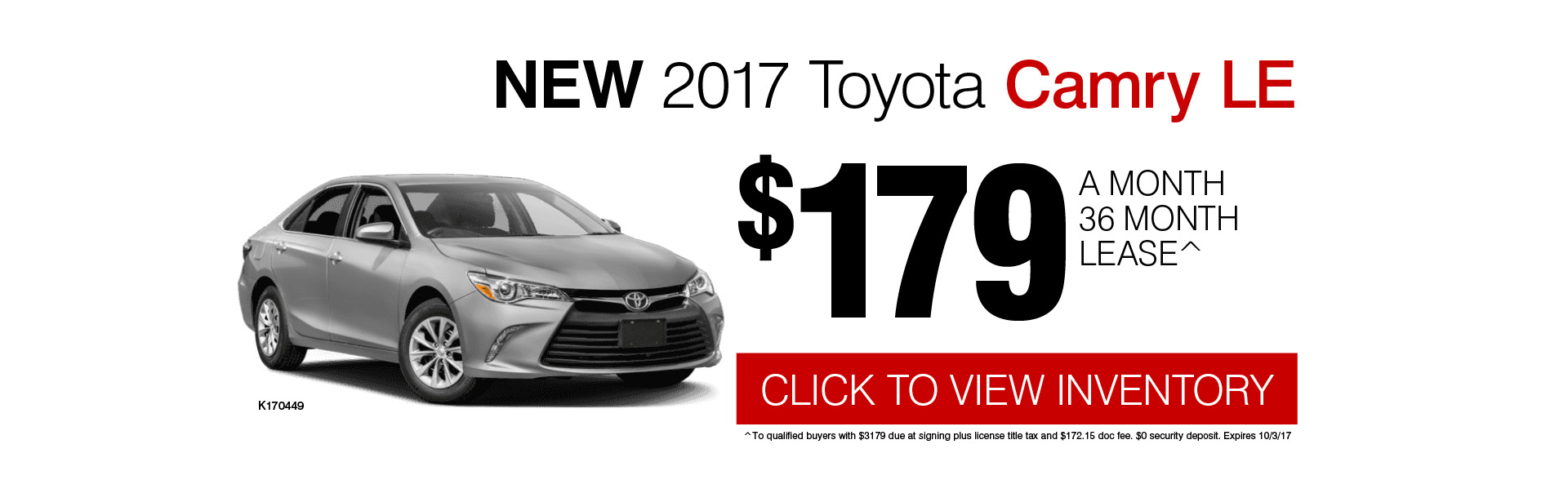 2017 Toyota Camry LE Low Payment Lease Special in Chicago, IL