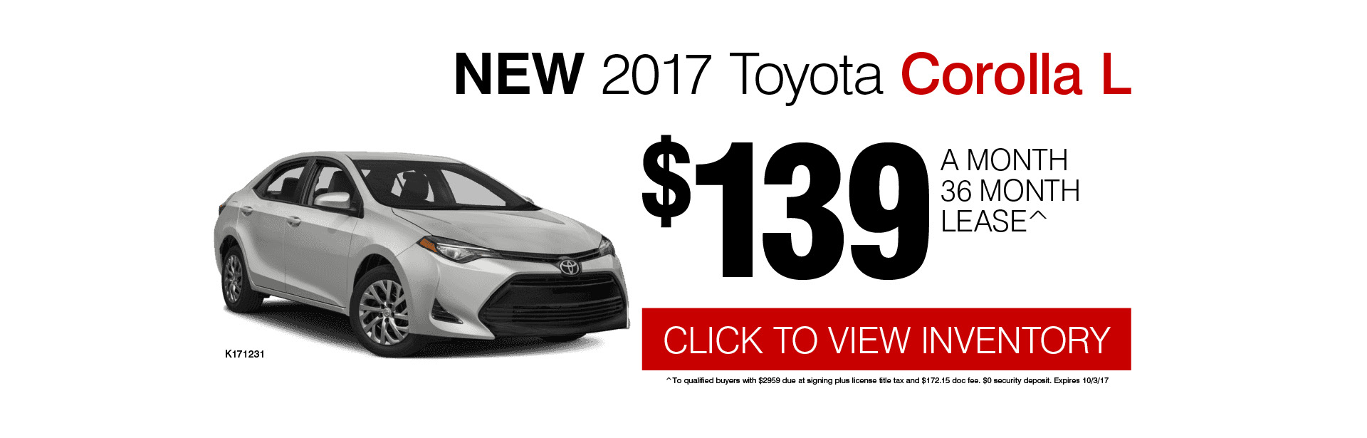 Save on Your 2017 Corolla L Lease at Grossinger City Toyota in Chicago, IL