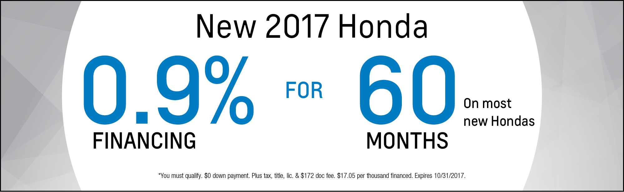 New 2017 Honda Special Financing Offer in Chicago, IL