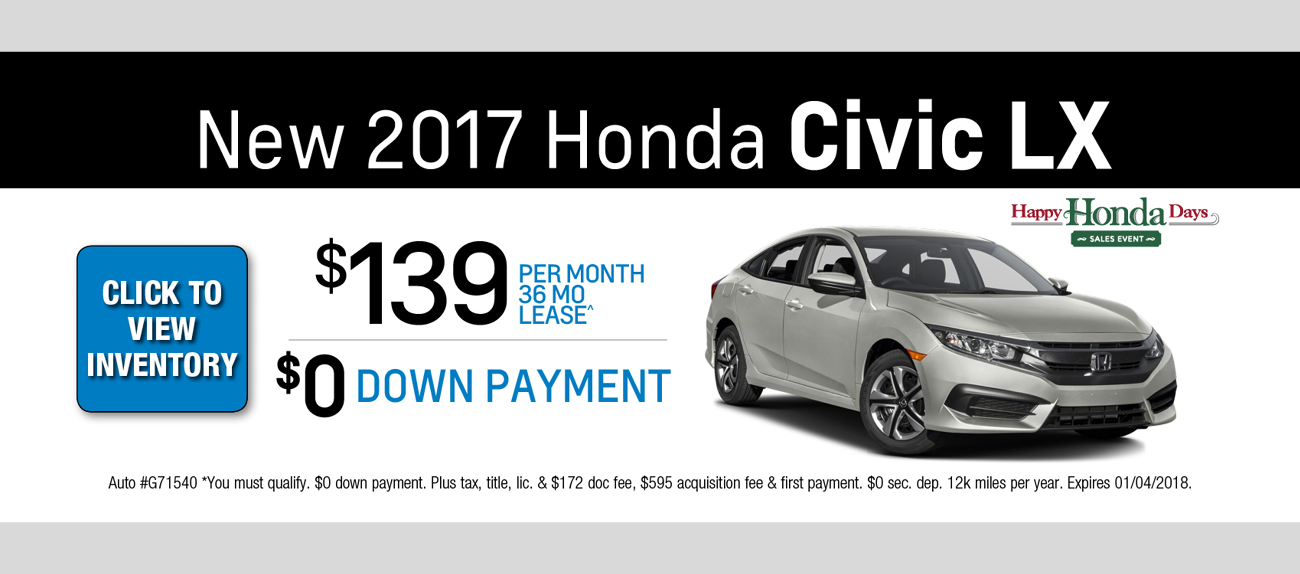 2017 Honda Civic Lease Special Chicago Il Honda Offers