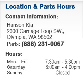 Hanson Kia Parts Department Hours, Location, Contact Information