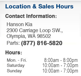 Hanson Kia Sales Department Hours, Location, Contact Information