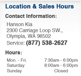 Hanson Kia Service Department Hours, Location, Contact Information