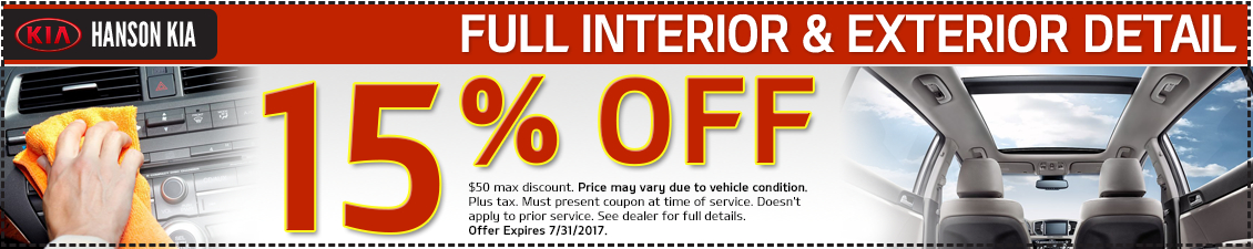 Save today with our Full Car Detail service special at Hanson Kia in Olympia, WA