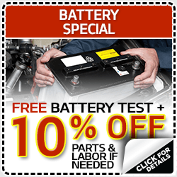 Click to view our free battery test and new battery discount service special in Olympia, WA