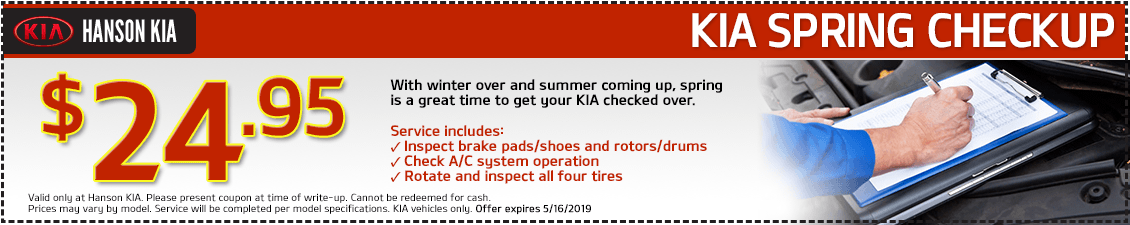Kia Spring Brake, Tire and A/C Inspection Service Special in Olympia, WA