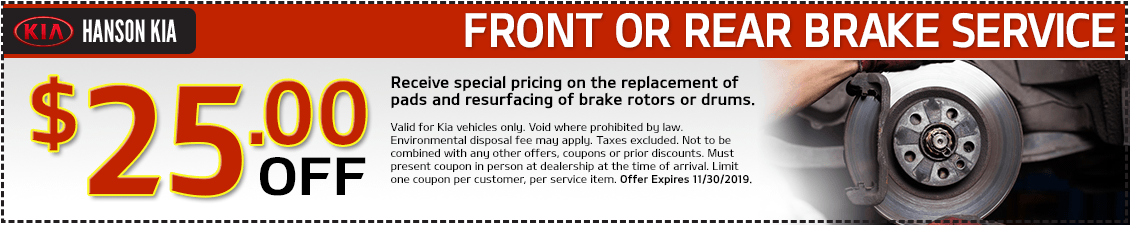 Kia $25 OFF Front or Rear Brake Service Special in Olympia, WA