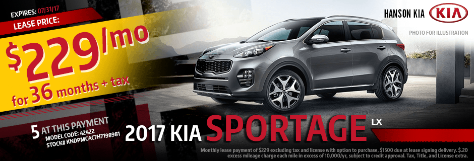 New 2017 Kia Sportage Special Lease Discount Payment Offer at Hanson Kia in Olympia, WA