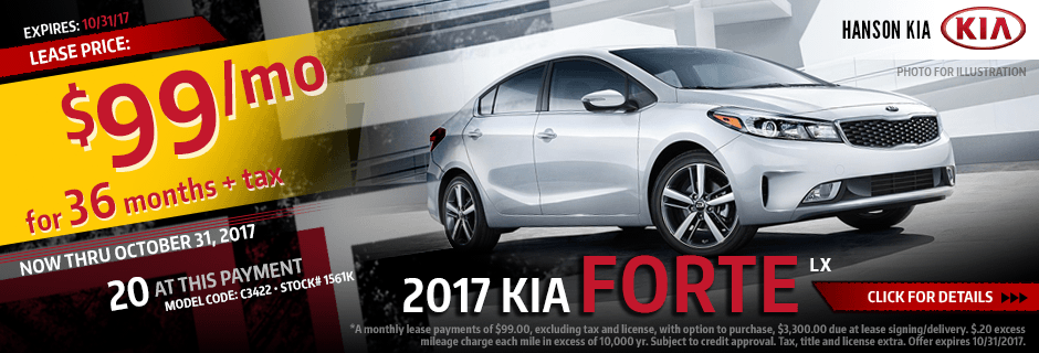 Click to View Our 2017 Kia Forte LX Lease Special in Olympia, WA