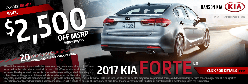 Click to View Our 2017 Kia Forte LX Discount Special in Olympia, WA