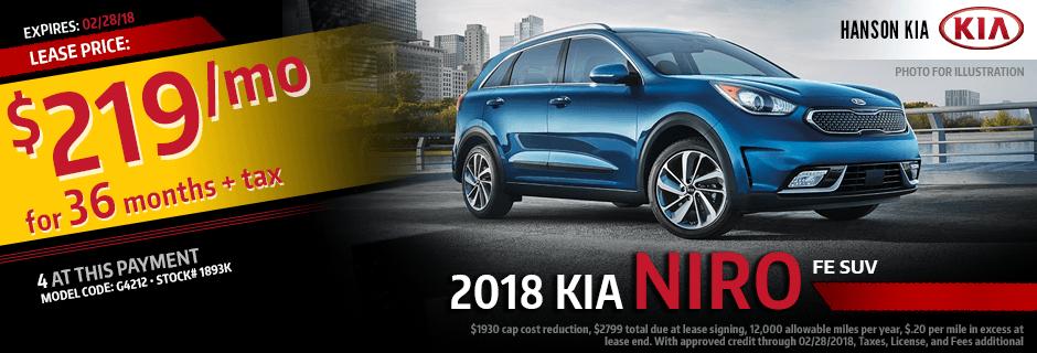 2018 Kia Niro Special Lease savings offer in Olympia, WA