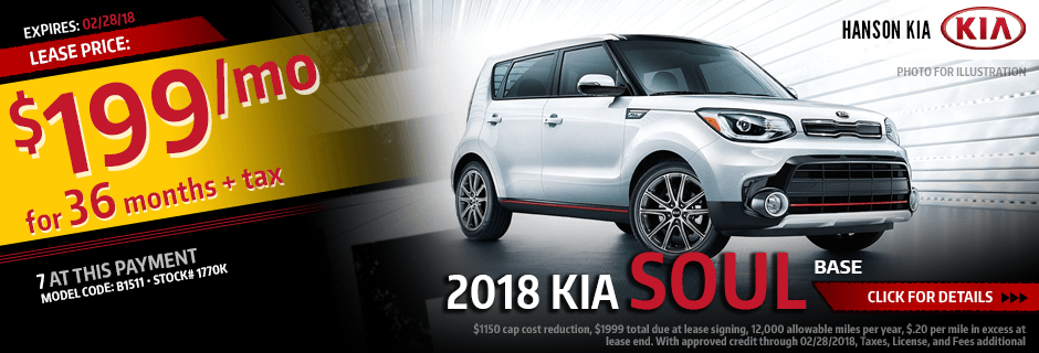 2018 Kia Soul Special Lease savings offer in Olympia, WA