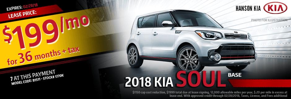 2018 Kia Soul Special Lease savings offer in Olympia, WA