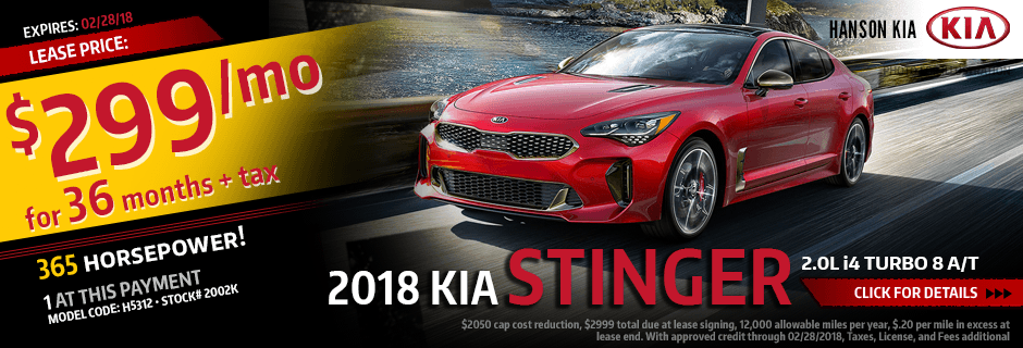 2018 Kia Stinger Special Lease savings offer in Olympia, WA