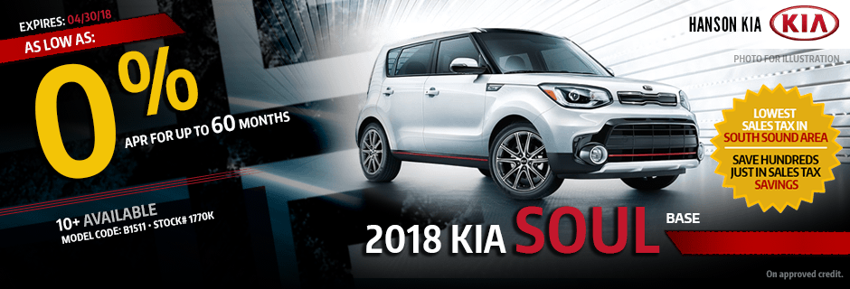 2018 Kia Sole Base Special Lease savings offer in Olympia, WA