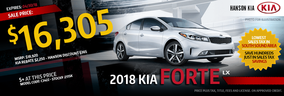 2018 Kia Forte LX Special Lease savings offer in Olympia, WA