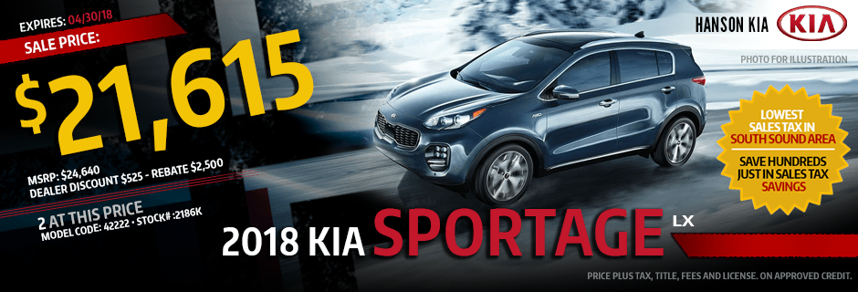 2018 Kia Sportage Special Lease savings offer in Olympia, WA