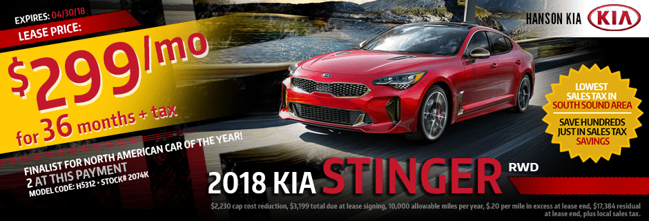 2018 Kia Stinger RWD Special Lease savings offer in Olympia, WA