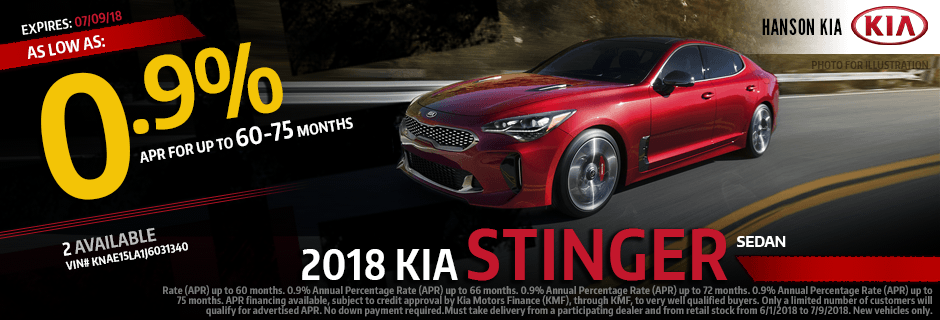 2018 Stinger Sedan Finance Special at Hanson Kia in Olympia, WA