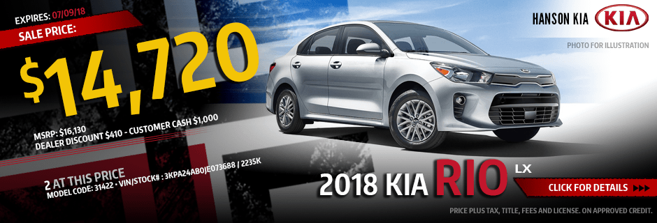 2018 Rio LX Sales Special at Hanson Kia in Olympia, WA