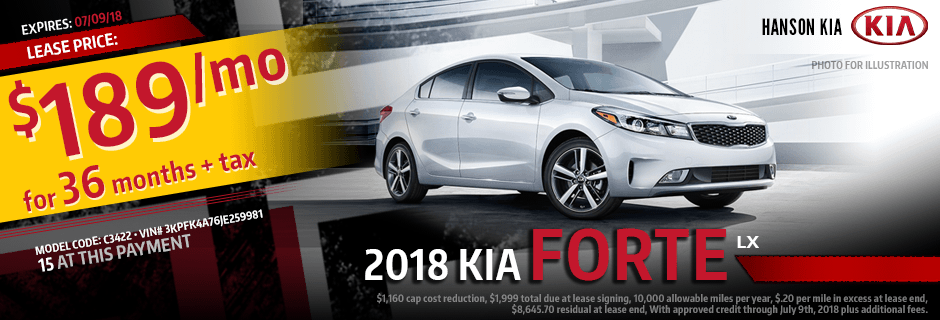 2018 Forte LX Low Payment Lease Special at Hanson Kia in Olympia, WA
