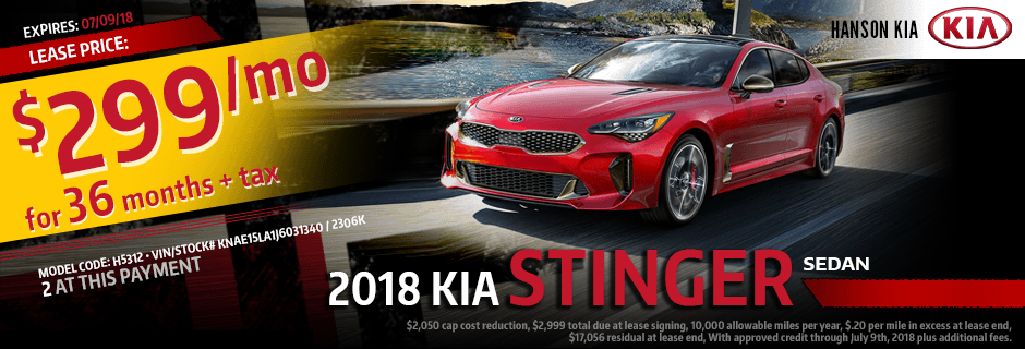 2018 Stinger Sedan Lease Special at Hanson Kia in Olympia, WA