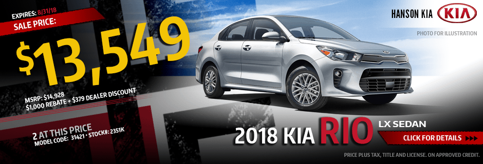 2018 Kia Rio LX Sedan Purchase Special savings offer in Olympia, WA