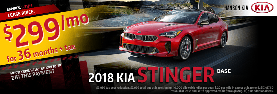 2018 Kia Stinger Base Lease Special savings offer in Olympia, WA