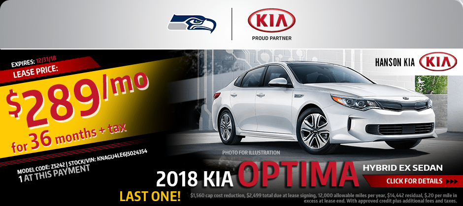 2018 Kia Optima Hybrid EX Sedan Special lease savings offer in Olympia, WA