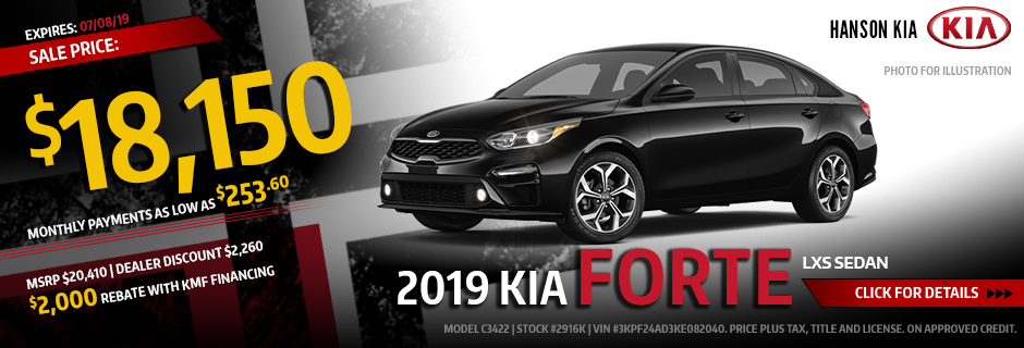 New 2019 Kia Forte Sales Special Offer from Hanson Kia in Olympia, WA