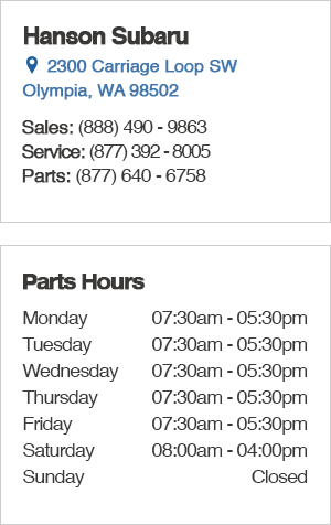 Hanson Subaru Parts Department Hours, Location, Contact Information