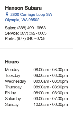 Hanson Subaru Sales Department Hours, Contact Information, Location